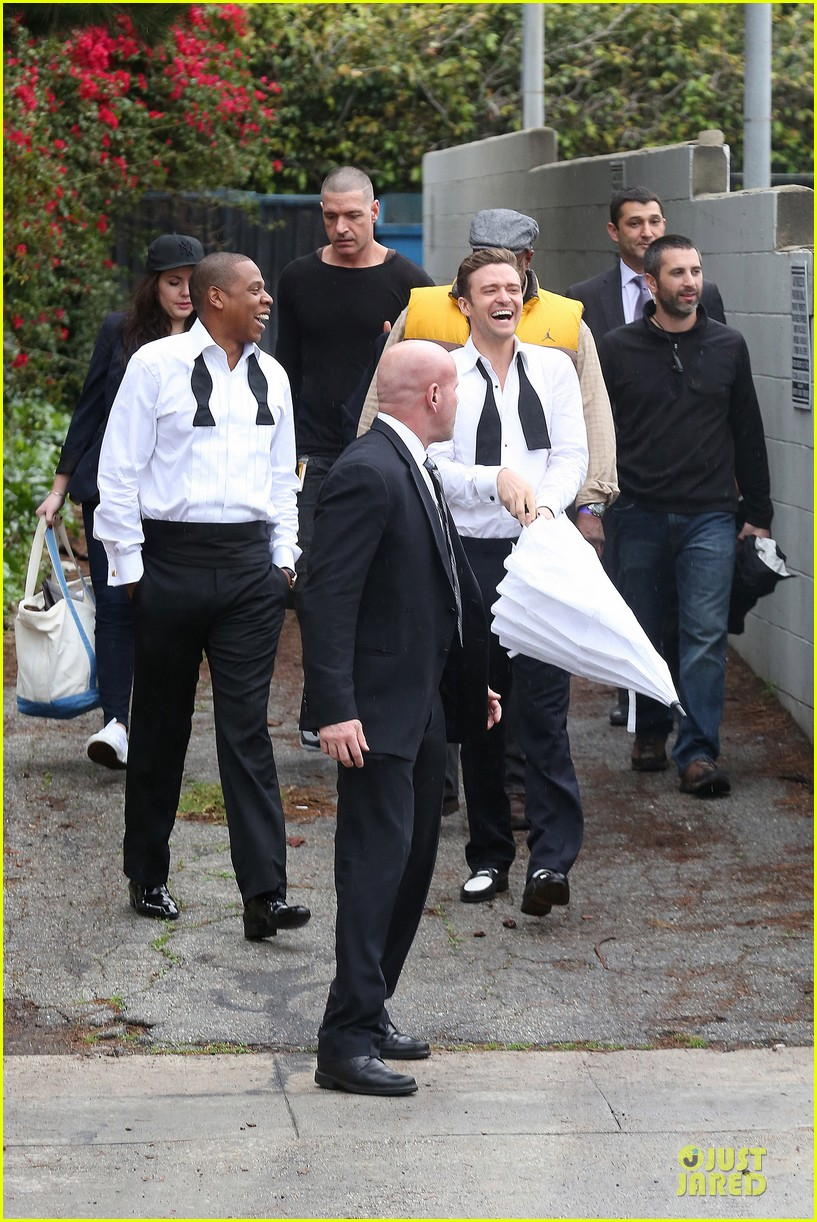 justin timberlake suit & tie music video shoot with jay z 03
