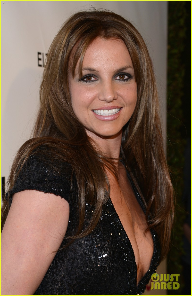 britney spears brown hair at elton john oscars party 2013 11