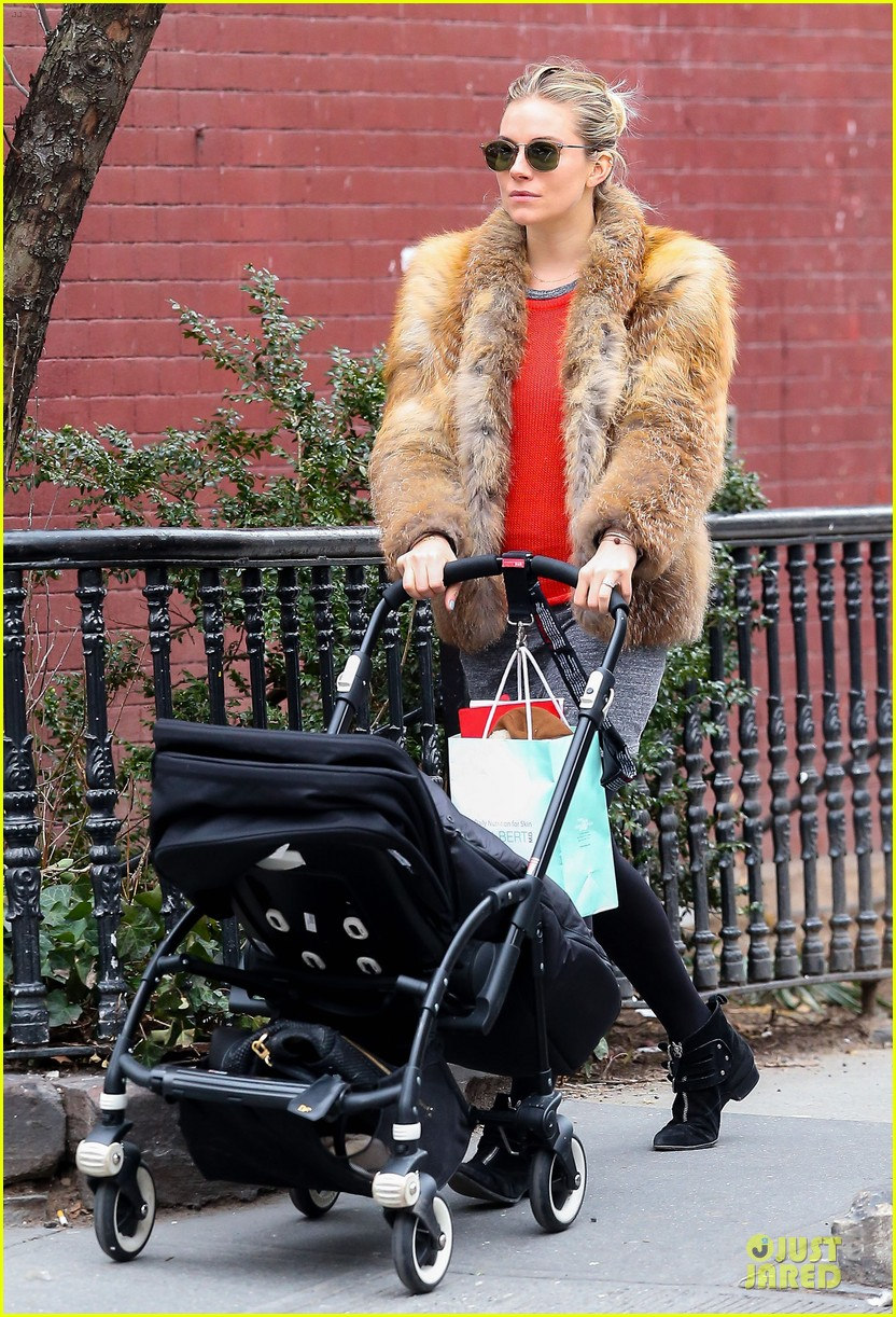 sienna miller fur coat stroll with marlowe 01