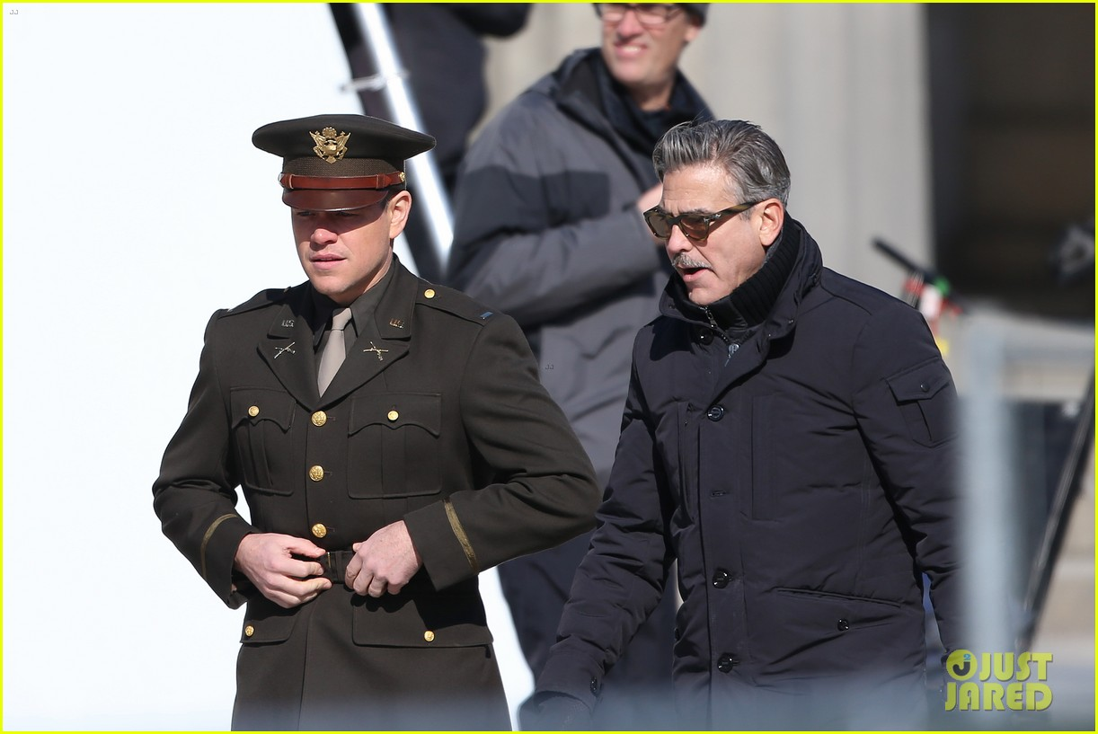 george clooney monuments men set with matt damon 03