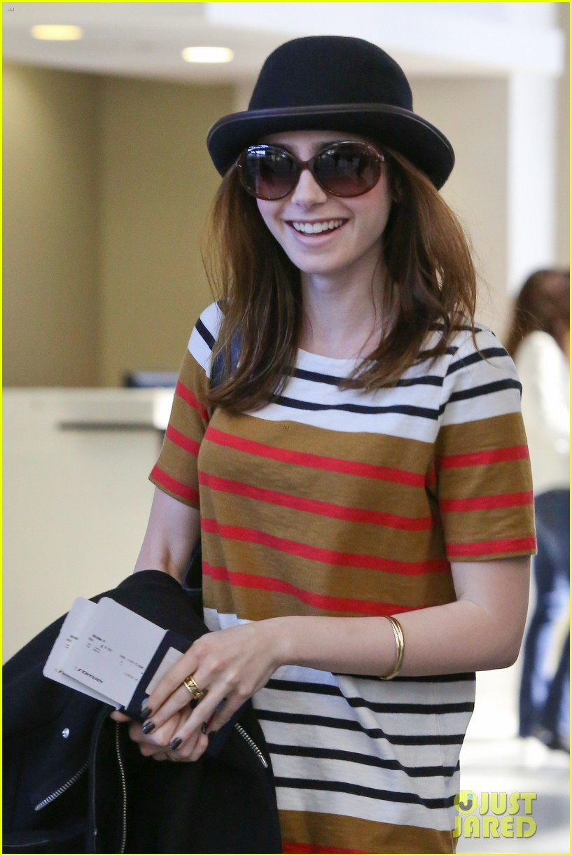 lily collins bowler babe at lax 022825116