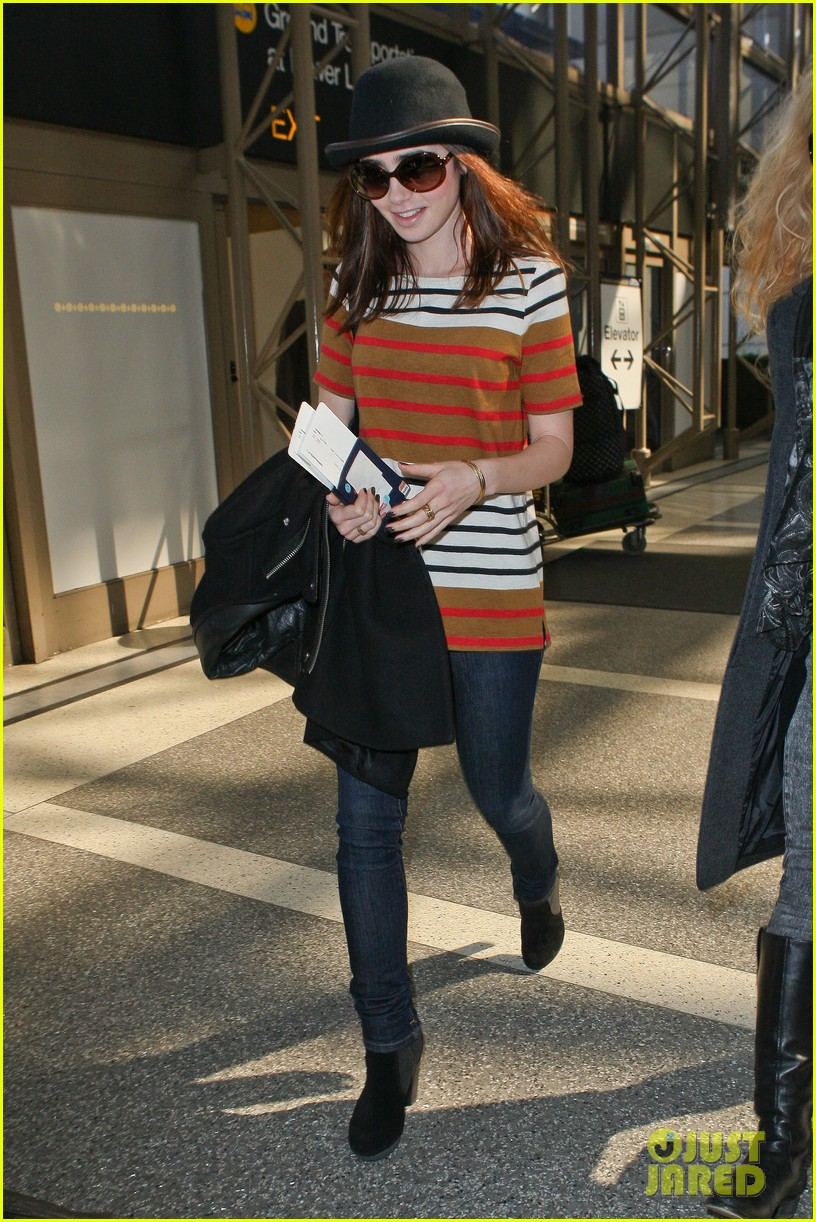 lily collins bowler babe at lax 07