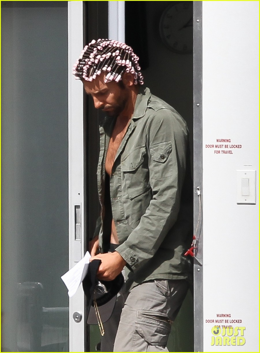 bradley cooper hair rollers shirtless on set 02