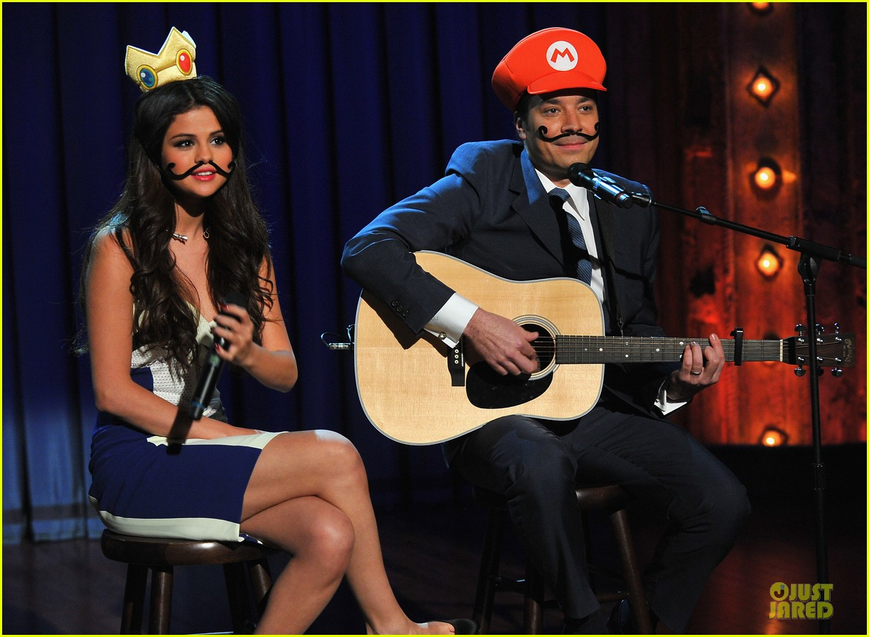 selena gomez mustache beauty on fallon 07