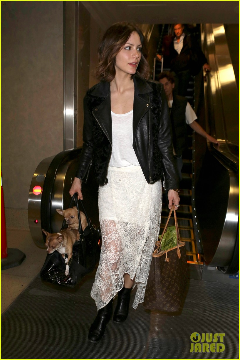katharine mcphee double puppy purse at airport 09