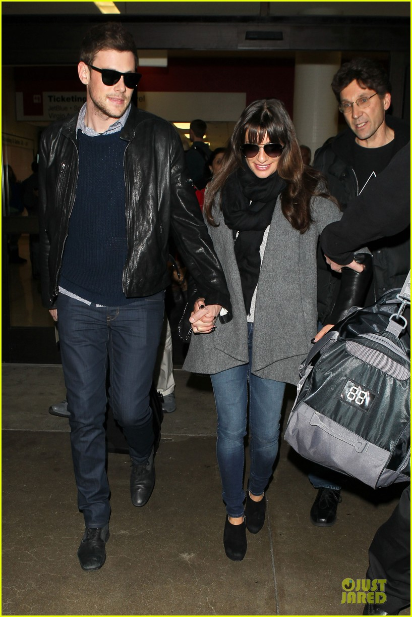 lea michele cory monteith snowy new york departure 04