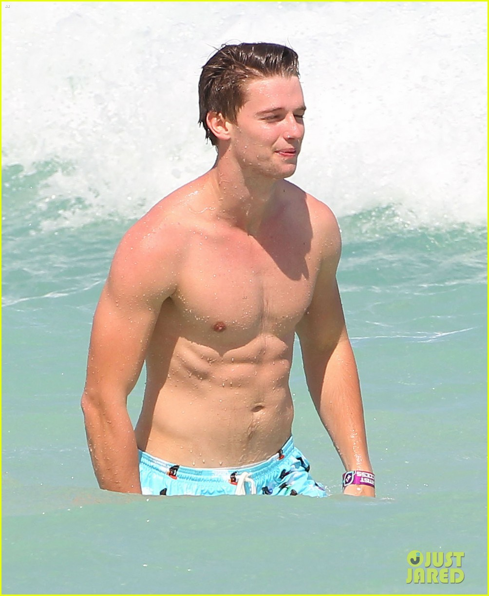 patrick schwarzenegger shirtless beach football 07