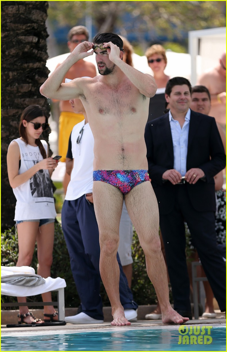 michael phelps shirtless speedo poolside afternoon 102834572