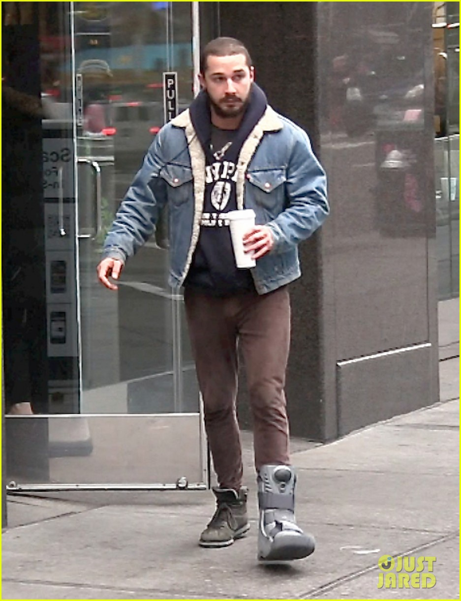 shia labeouf foot brace in new york city 01