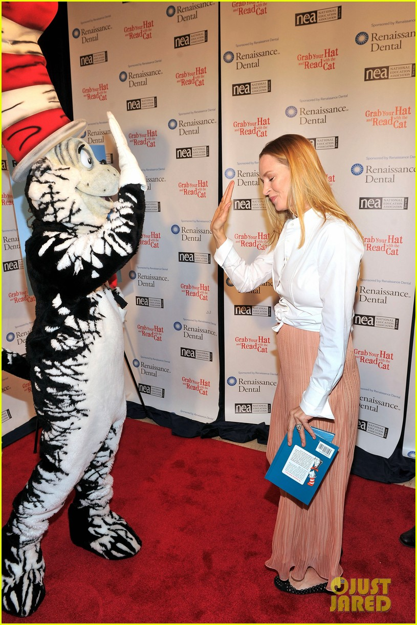 uma thurman cat in the hat for read across america day 072823502