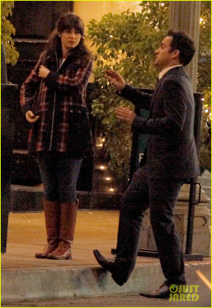 zooey deschanel beso new girl filming 14