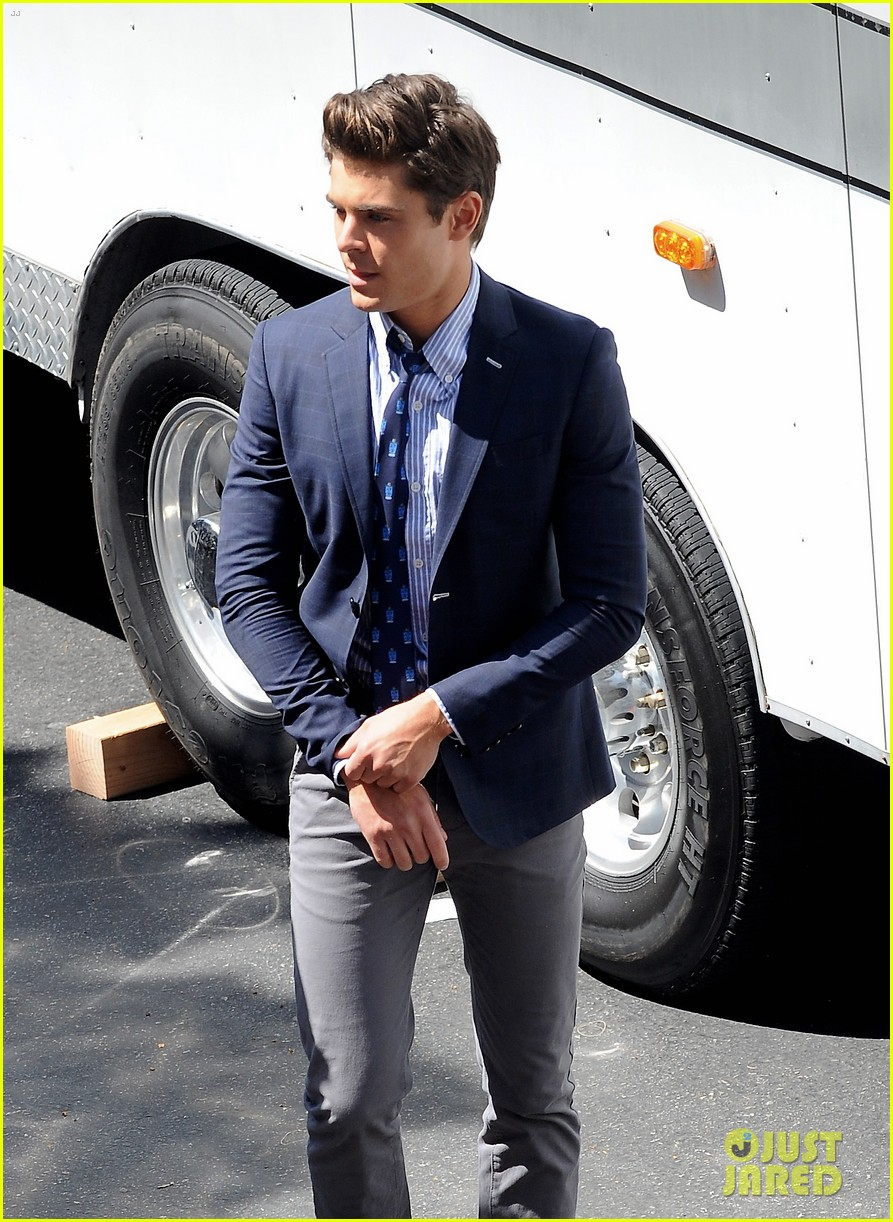 zac efron suit flip flops on townies set 102845707