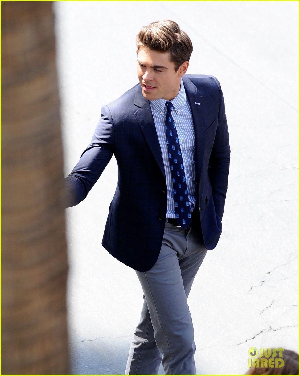 zac efron suit flip flops on townies set 132845710