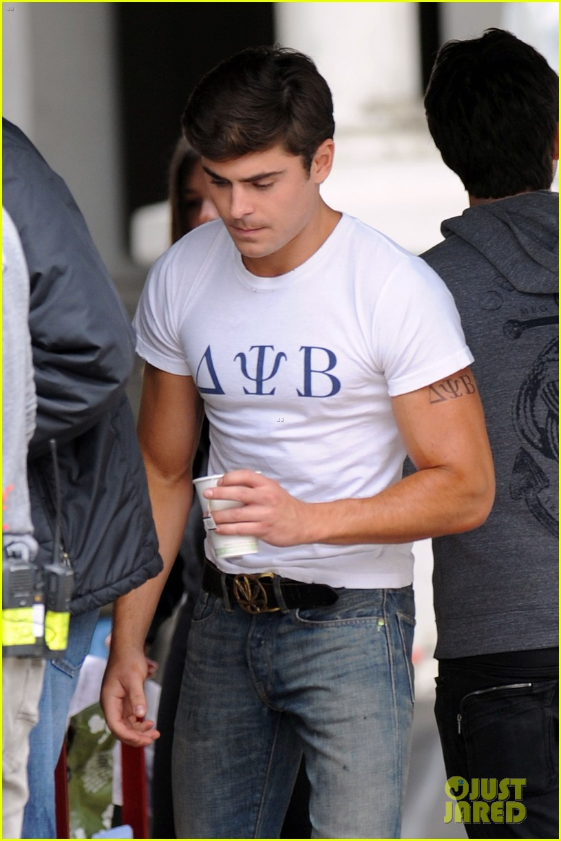 zac efron frat tattoo on bulging bicep for townies 052857388