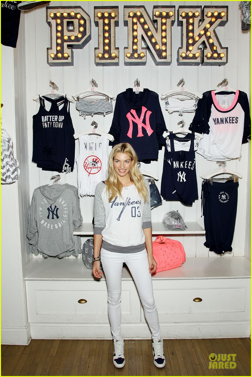 jessica hart yankees opening day new pink mlb collection celebration 052842426