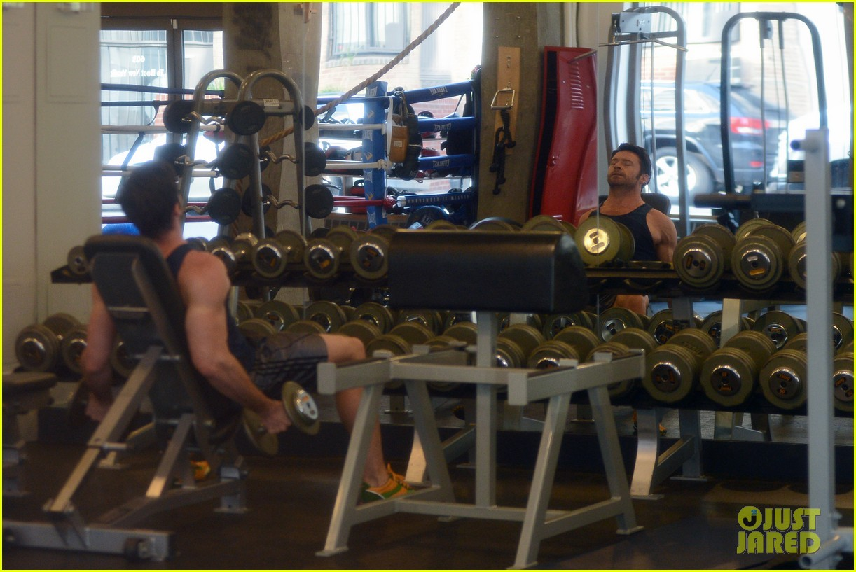 hugh jackman bulging bicep workout 142847035