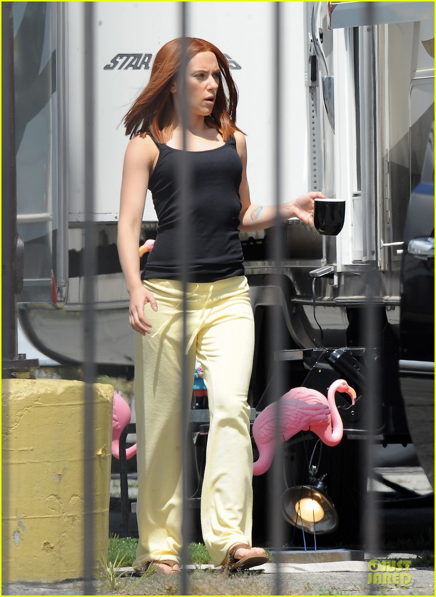 scarlett johannson red hair on captain america the winter soldier set 14