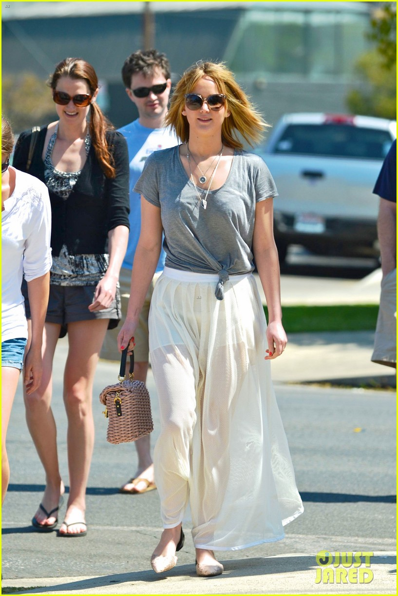 jennifer lawrence sheer skirt short hair for sunday lunch 012855648