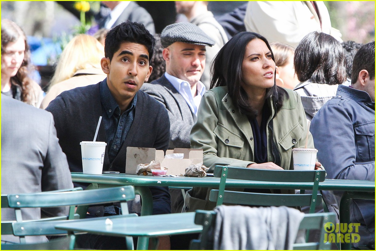 olivia munn dev patel newsroom filming 04