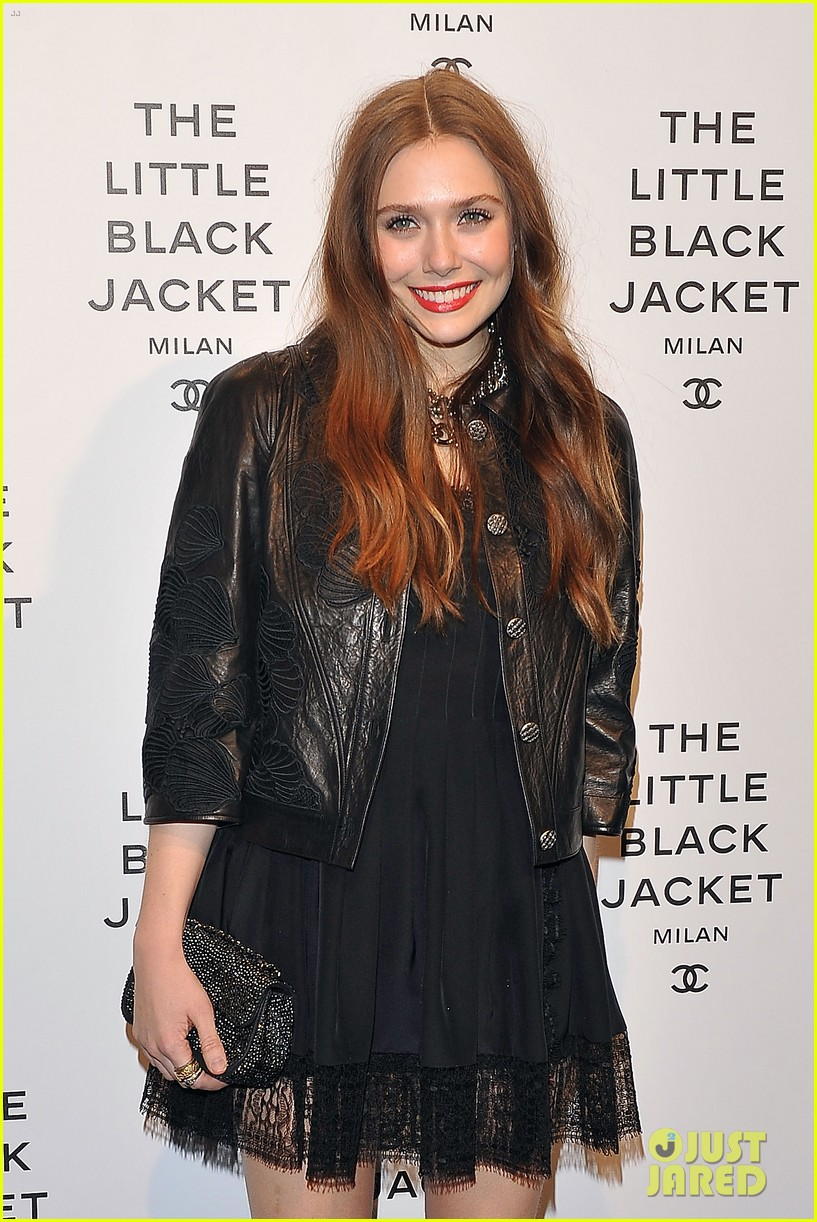 elizabeth olsen chanel little black jacket event 22