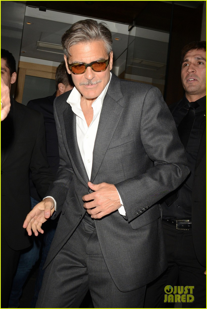 george clooney nobu exit in london 022876633