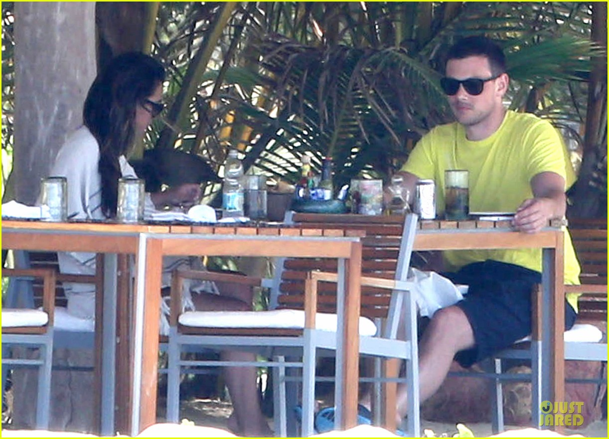 lea michele cory monteith beach lunch in mexico 08