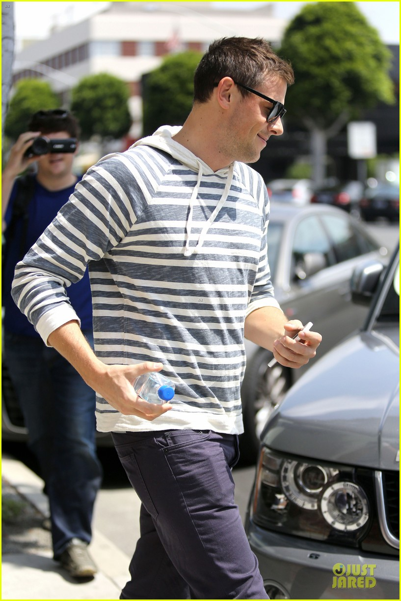 lea michele sheer grocery run cory monteith striped office meeting 112872591