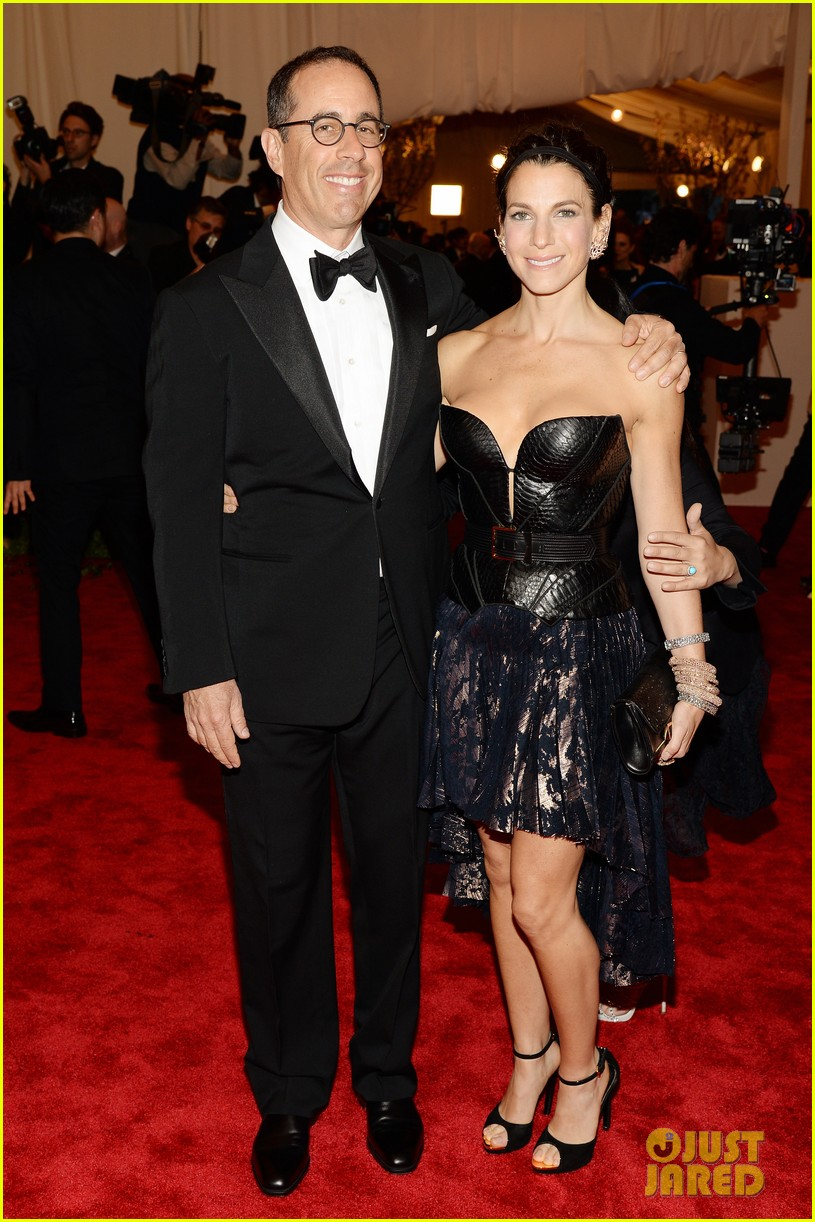 jerry seinfeld met ball 2013 red carpet with wife jessica 012865932