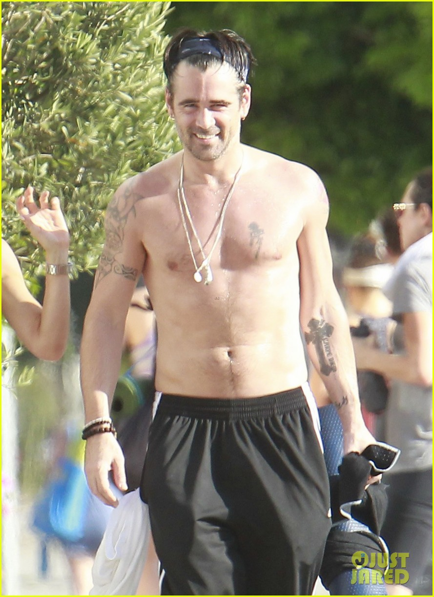 colin farrell shirtless yoga with sister claudine 10