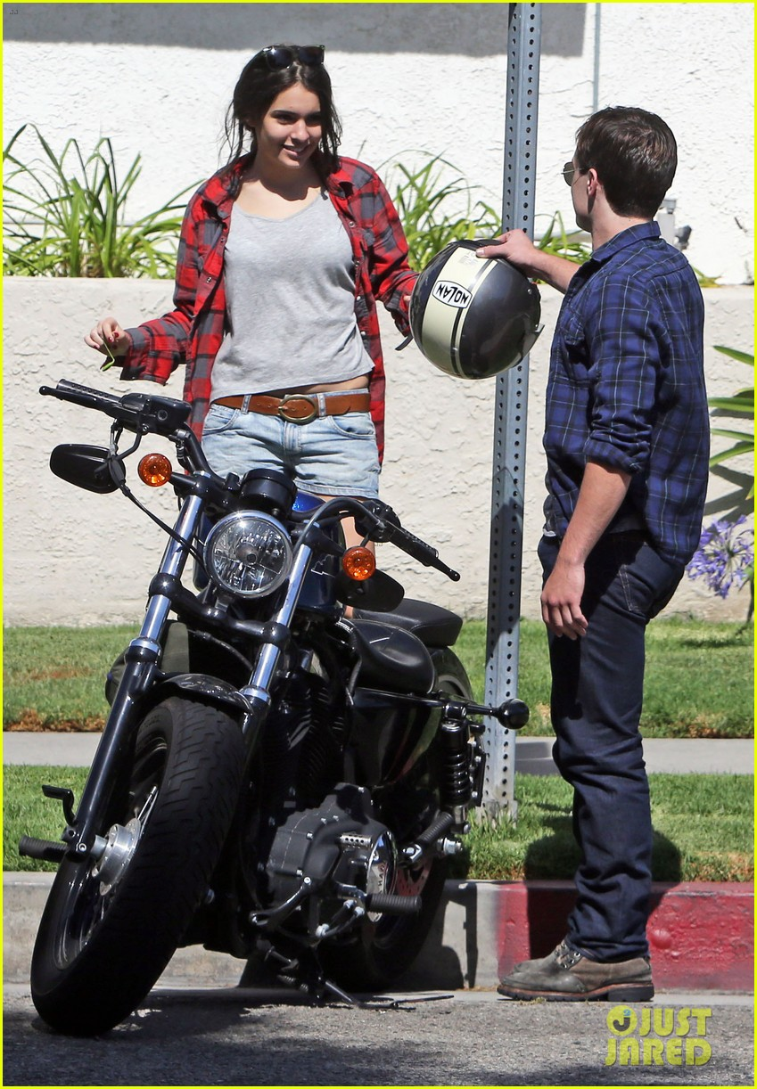 josh hutcherson claudia traisac kiss after motorcycle ride 202896649