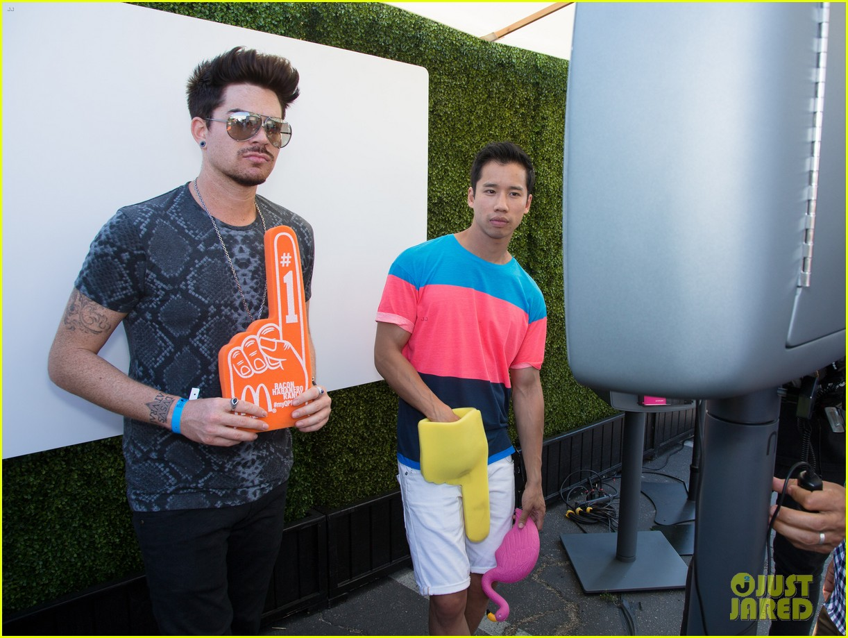 adam lambert hammer time at just jared summer kick off party presented by mcdonalds 042883182