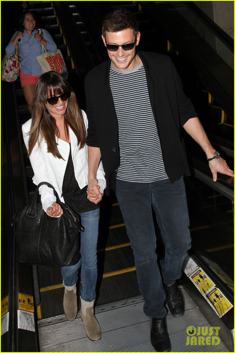 lea michele cory monteith hold hands at lax airport 042895479