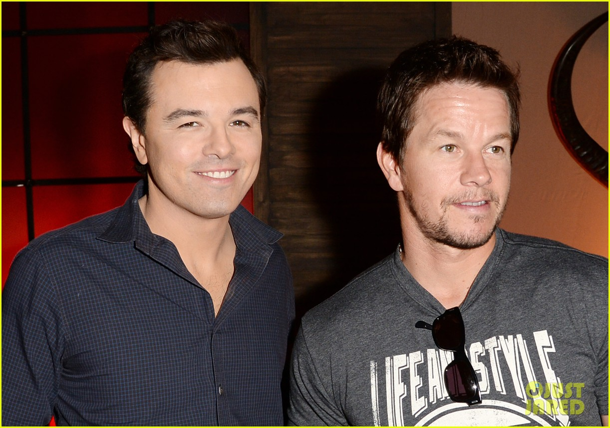 Photo of Seth MacFarlane & his friend celebrity  Mark Wahlberg - At work