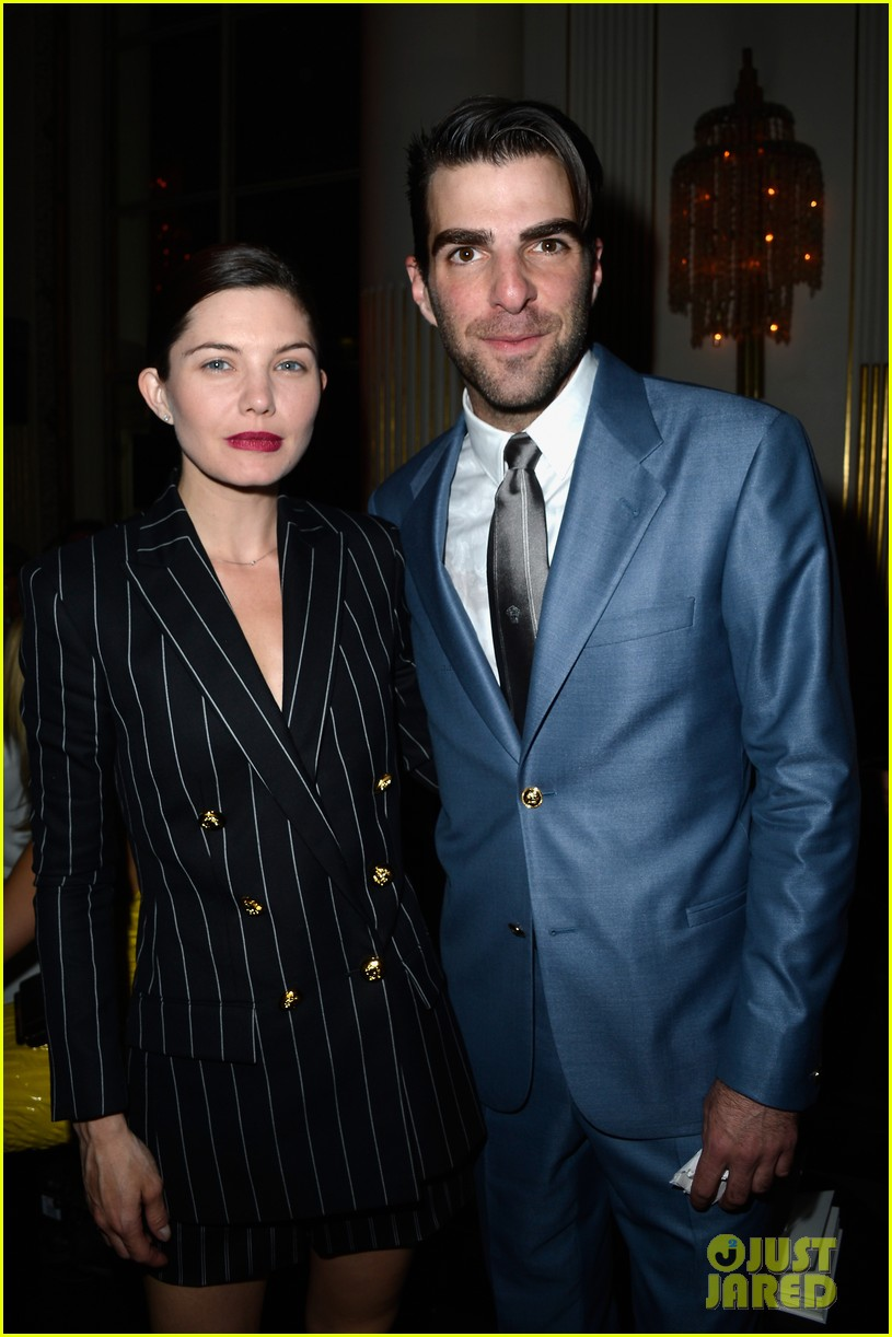 zachary quinto uma thurman front row at versace show 152901337