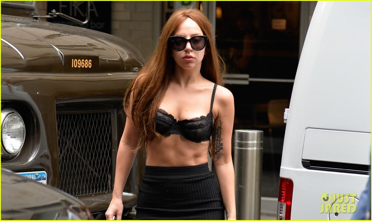 lady gaga wears bra as shirt in new york city 022907950