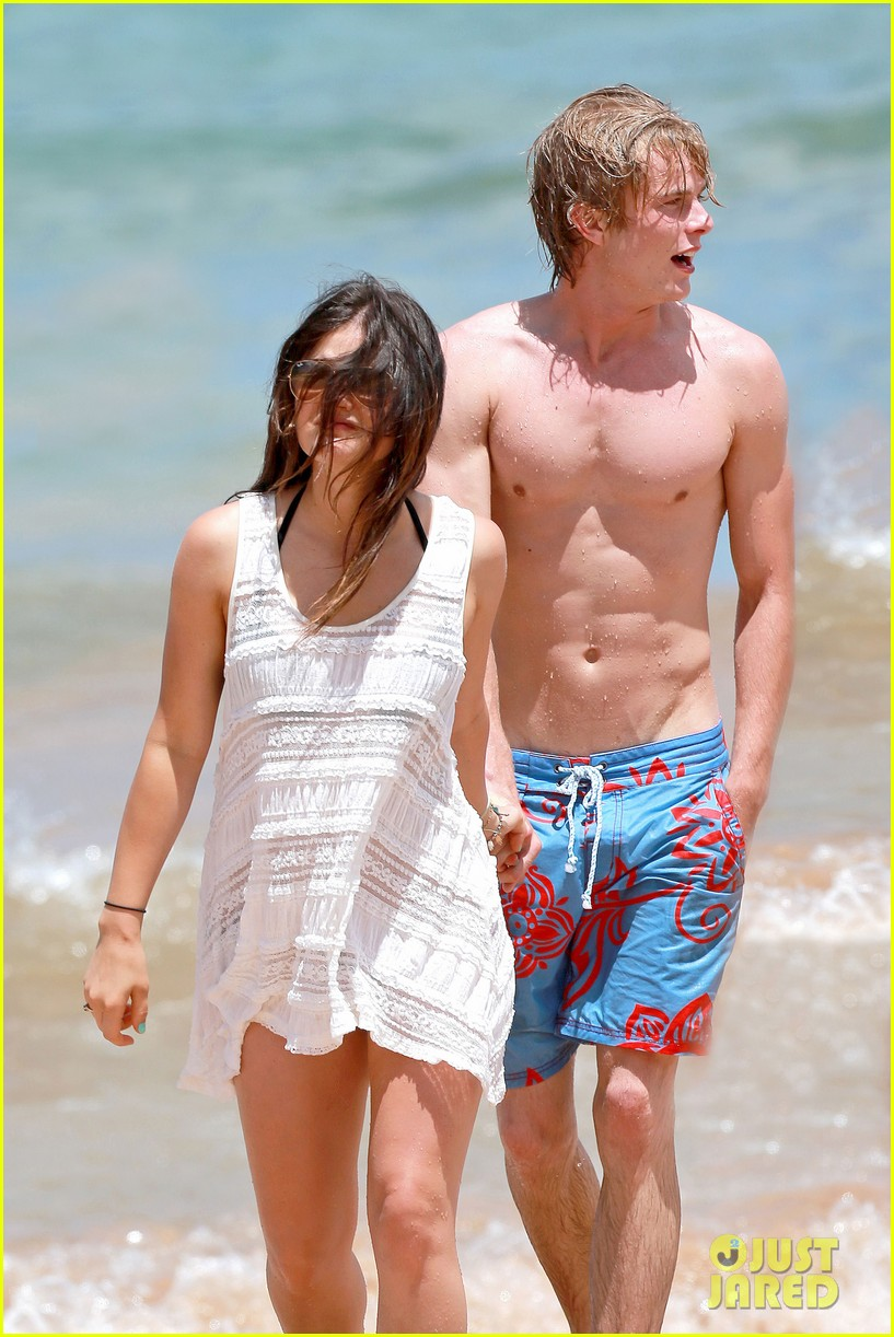 lucy hale more beach fun with shirtless graham rogers 022902595