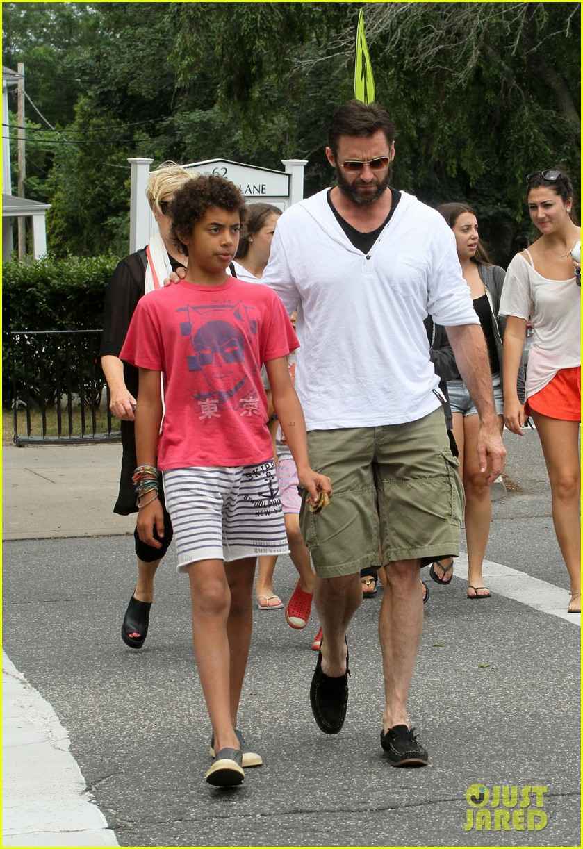 hugh jackman hangs with family wolverine hits theaters 102917608