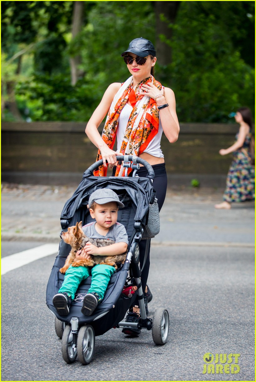 miranda kerr central park morning with flynn frankie 092917477