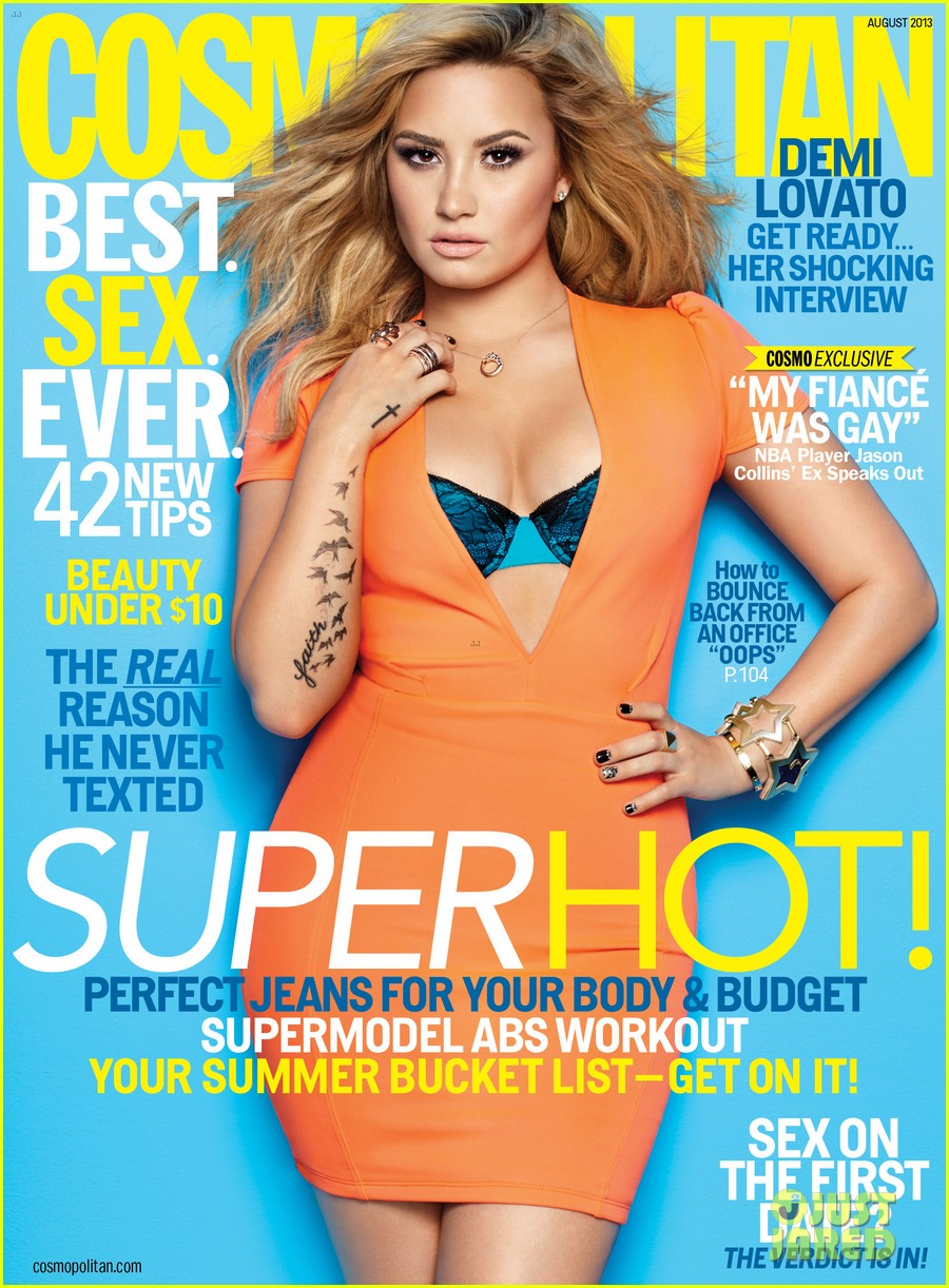 demi lovato bares bra for cosmopolitan august 2013 02