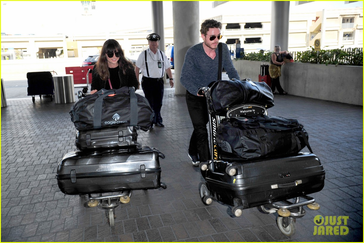 richard madden jenna coleman lots of luggage at lax 032917820
