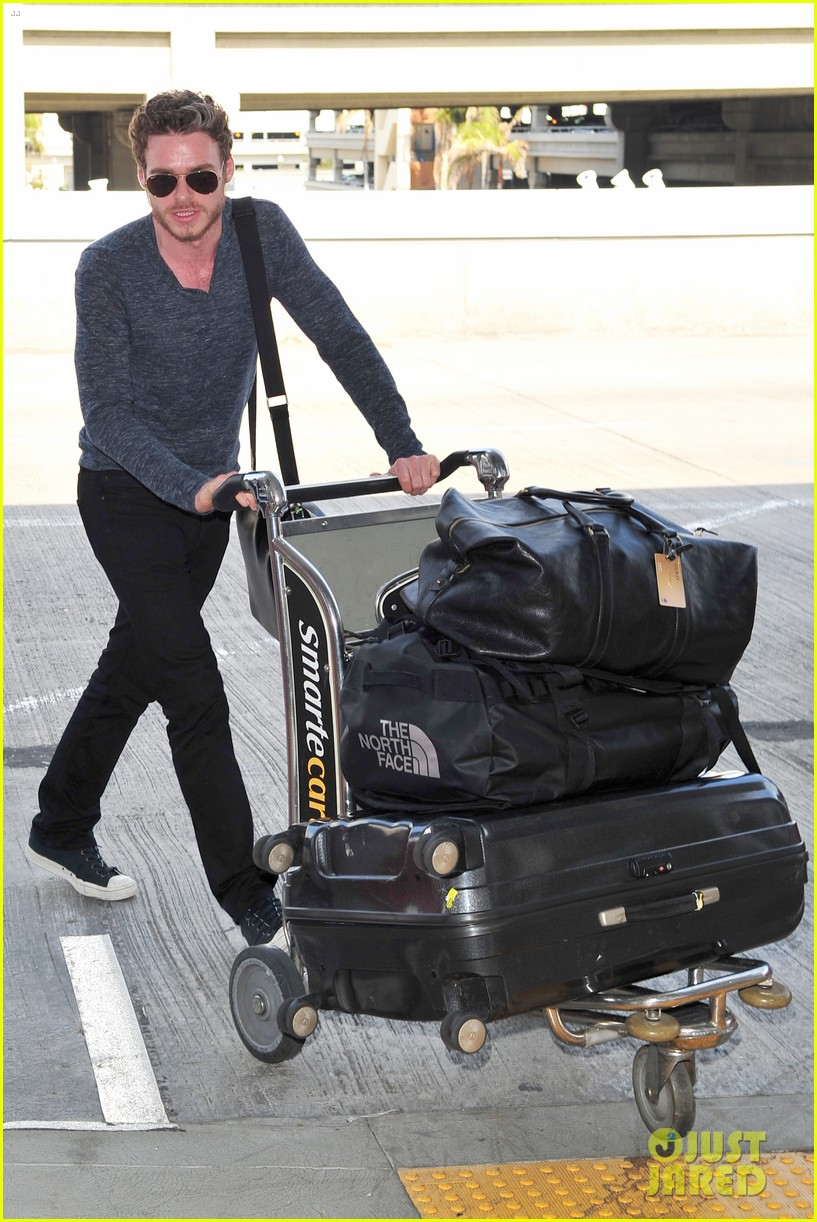 richard madden jenna coleman lots of luggage at lax 142917831