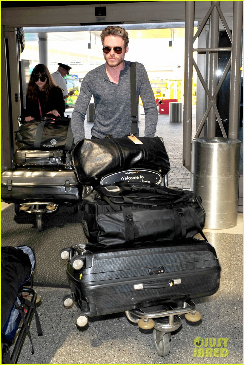richard madden jenna coleman lots of luggage at lax 162917833