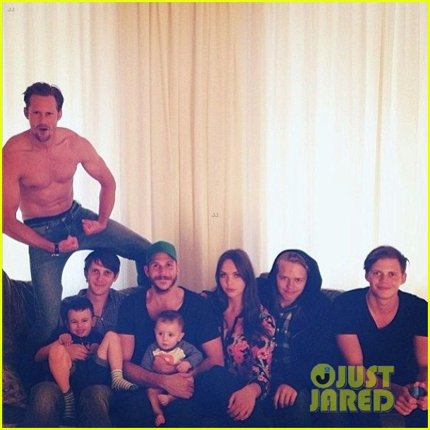 alexander skarsgard goes shirtless in family portrait