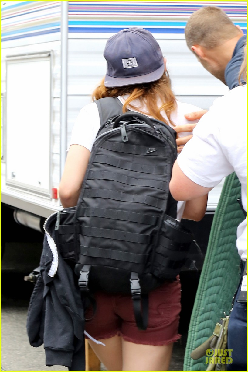 kristen stewart snacks coconut water for camp x ray set 132912871