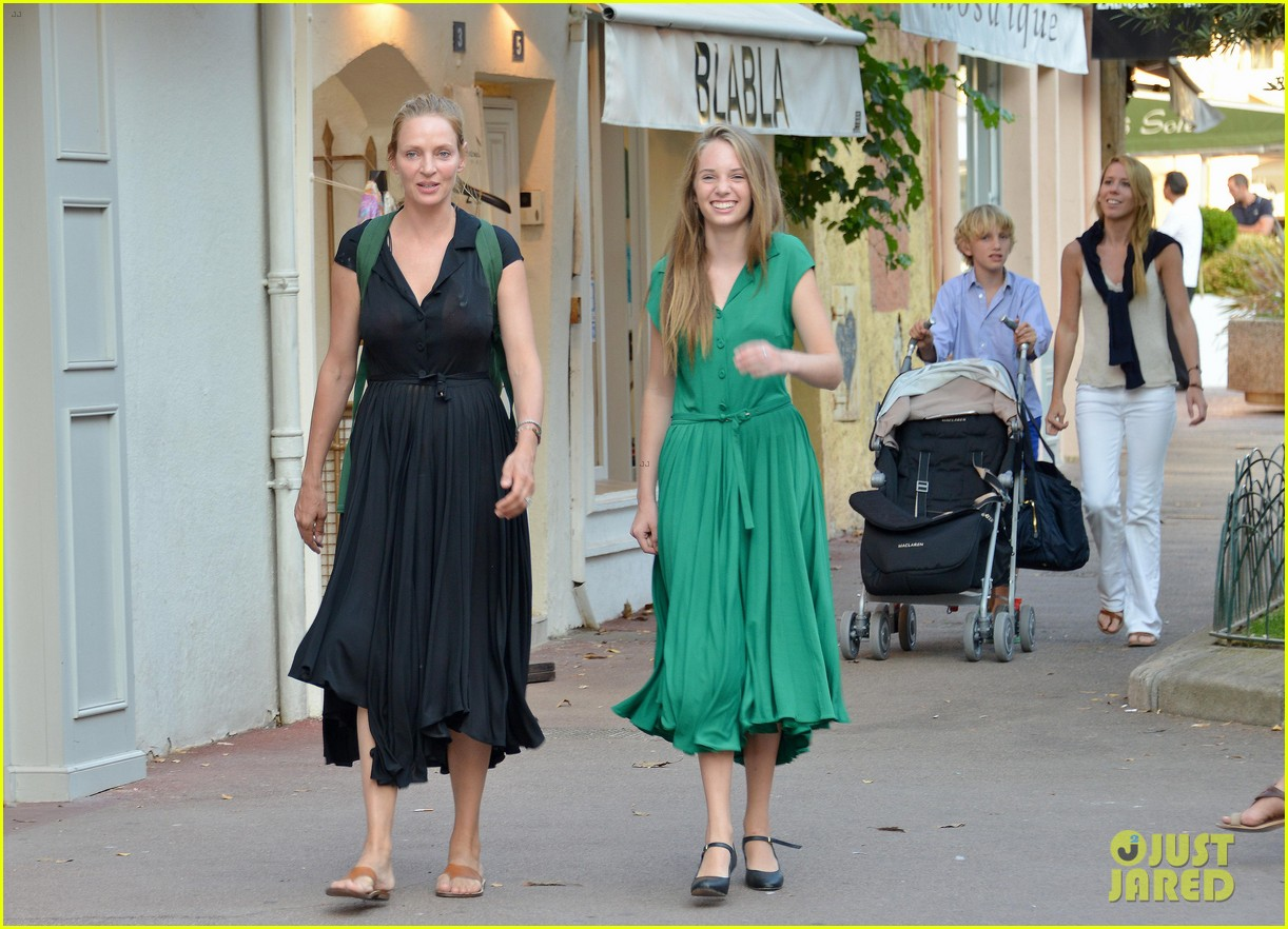 uma thurman saint tropez trip with arpad busson kids 012904873