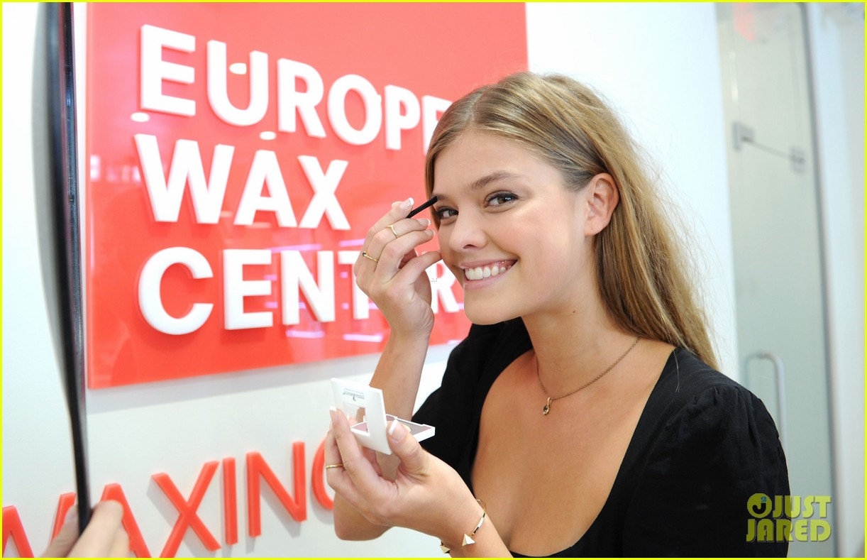 nina adgal tends to her brows at the european wax salon 03