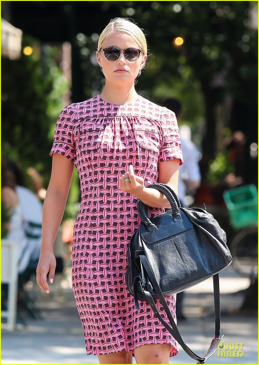 dianna agron repeats cute dress for nyc solo stroll 02