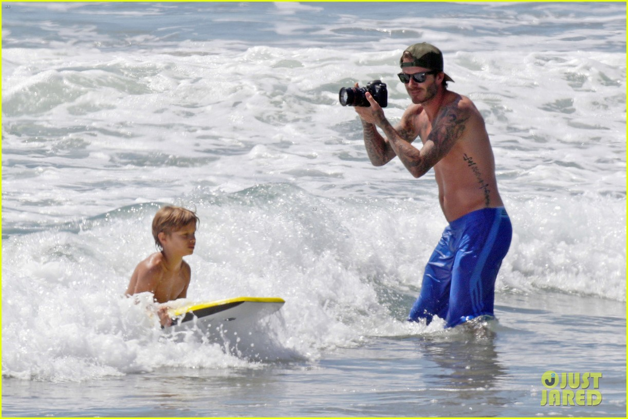 david beckham shirtless surfing with the boys 06