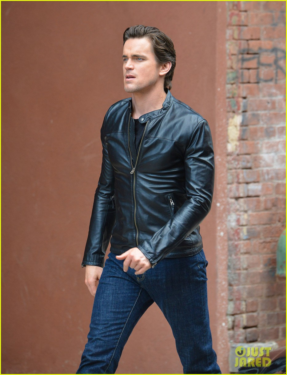 matt bomer fitted leather jacket for white collar 05