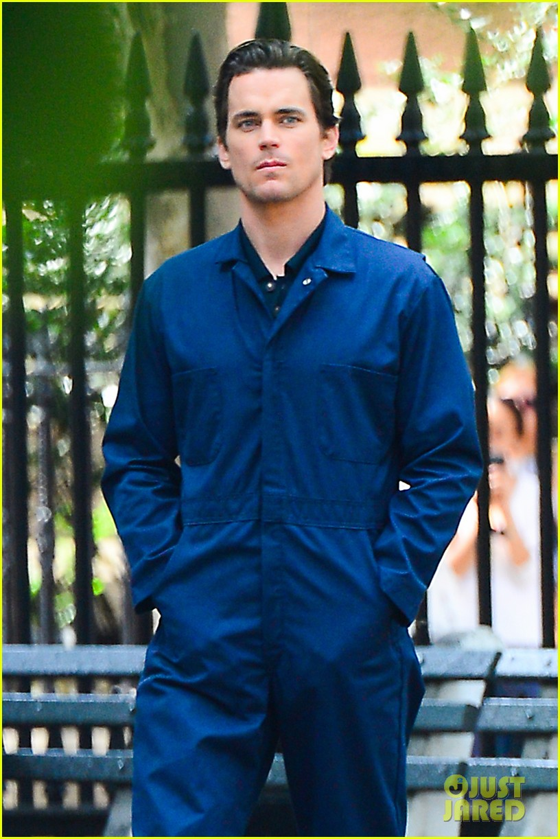 matt bomer wears jumpsuit plays with puppy 112930920